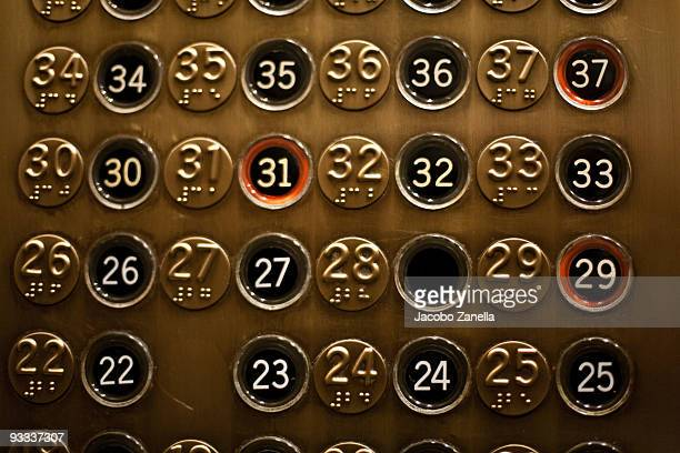 detail of old elevator panel - push button stock pictures, royalty-free photos & images