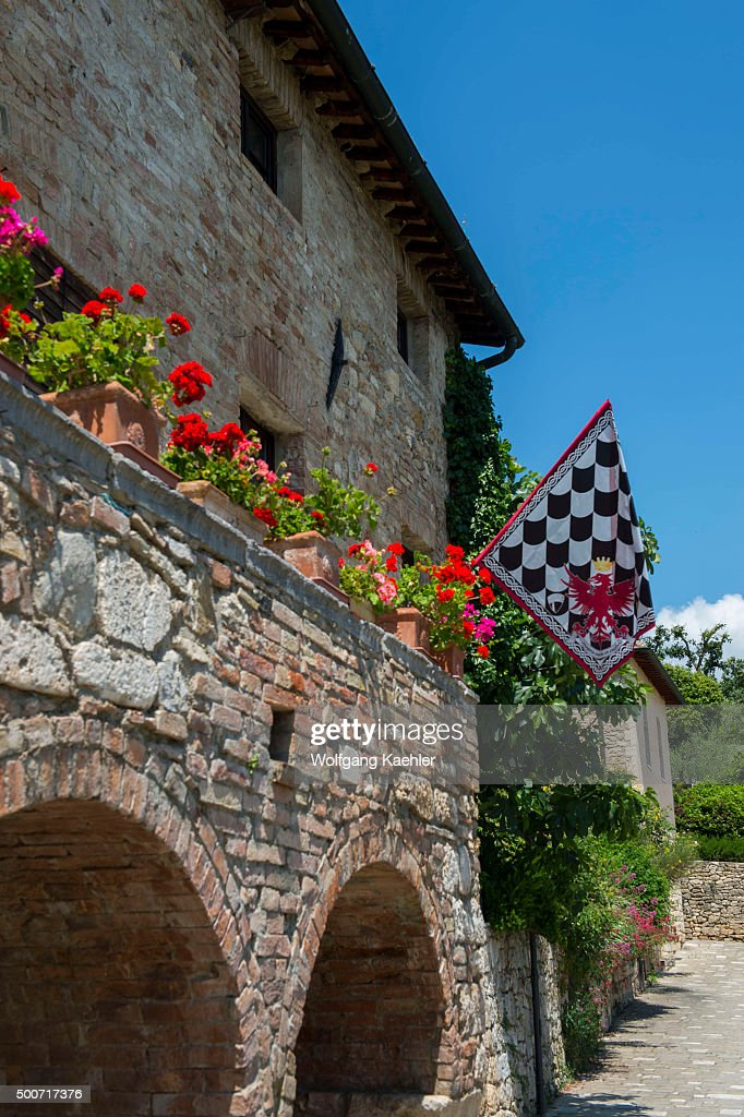 Detail Of Old House With Flag In Bagno Vignoni A Small Spa Of