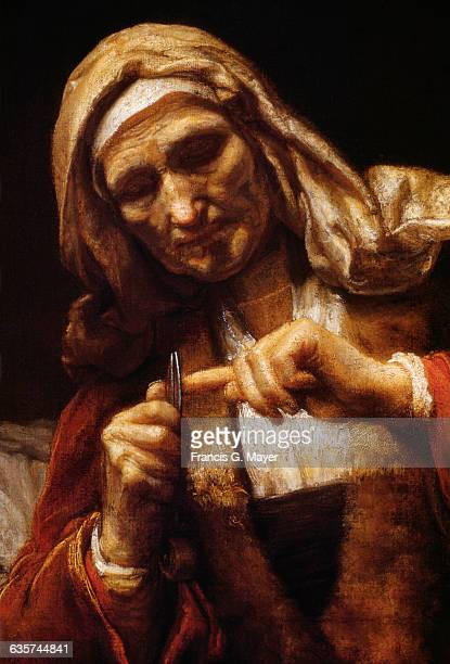 Detail of Old Woman Cutting Her Nails by School of Rembrandt