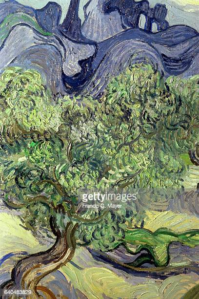 Detail of Olive Trees in a Mountain Landscape by Vincent van Gogh