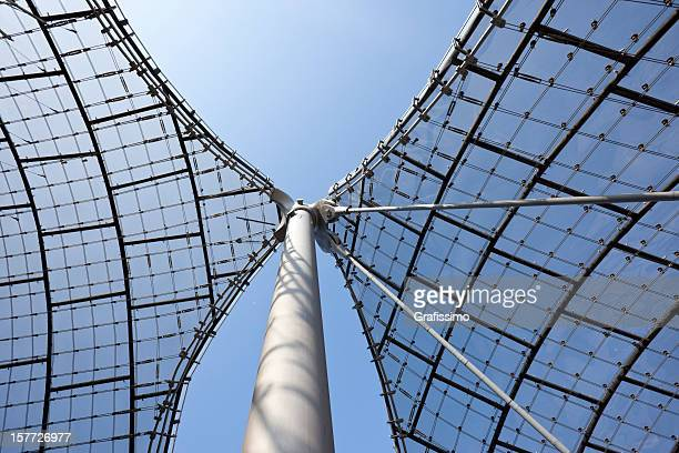 detail of olympic stadium roof in munich - olympiastadion munich stock pictures, royalty-free photos & images