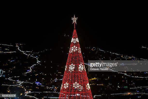 Detail of one Christmas tree of lights on December 29, 2016 in Funchal, Madeira, Portugal.
