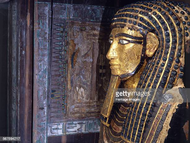 A detail of one of a set of coffins that belonged to steward Hapy Ankhtyfythe innermost coffin is mummiform with the head adorned with a striated...