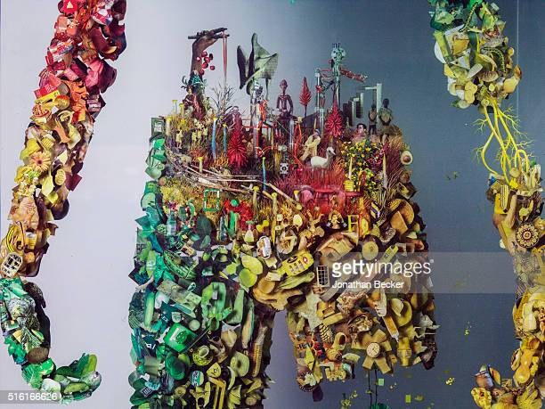 A detail of one of artist Dustin Yellin's Psychogeographies is photographed for Vanity Fair on May 7 2015 in his Red Hook studio in Brooklyn New York...