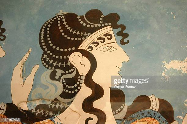 Detail of one of the Blue Ladies Greece Minoan Late Bronze Age c 1500 BC Crete