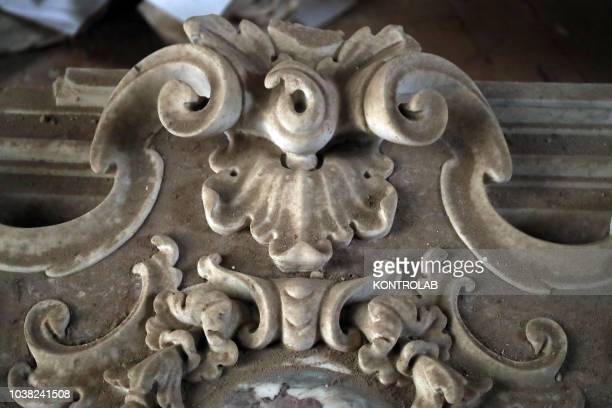 A detail of one of the fifty newly found pieces of the Altare del Gagini in the complex of Spasimo The altar will be restored and recomposed in the...