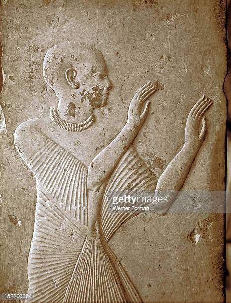 Detail of one of the four pillars from the tomb of Ptahmose depicting an adorant Egypt Ancient Egyptian 19th Dynasty c 1258 BC Found in Saqqara