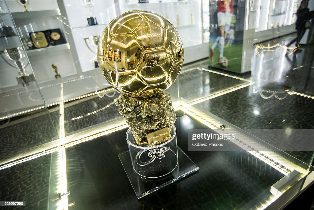 Detail of one of the three golden ball at the gallery of trophies of the Portuguese footballer Cristiano Ronaldo on May 9, 2016 in Funchal, Madeira, Portugal.