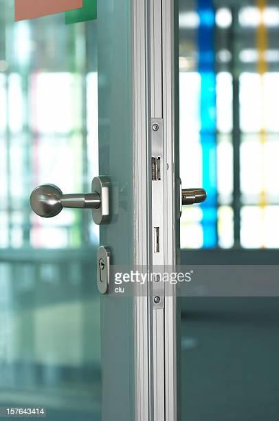Detail of open aluminum door