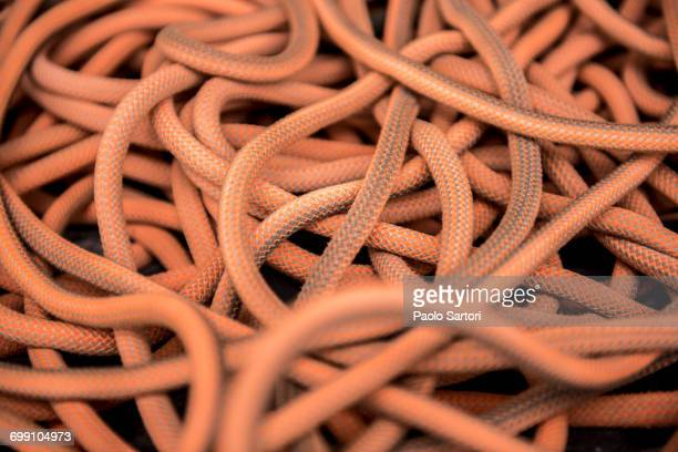 Detail of orange climbing rope. Oliana, Spain.
