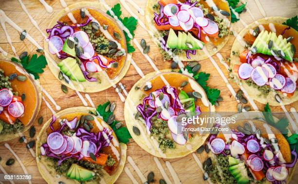 detail of organic corn tortillas with pumpkin, quinoa and chipotle mayonnaise - chipotle stock pictures, royalty-free photos & images