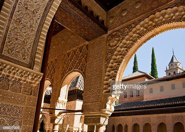 Detail of Ornate Decoration at Alhambra Palace in Granada, Spain