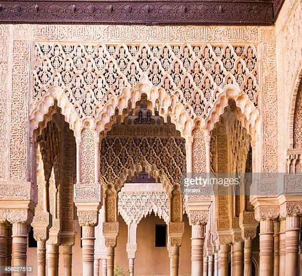 detail of ornate decoration at alhambra palace in granada, spain - granada province stock pictures, royalty-free photos & images
