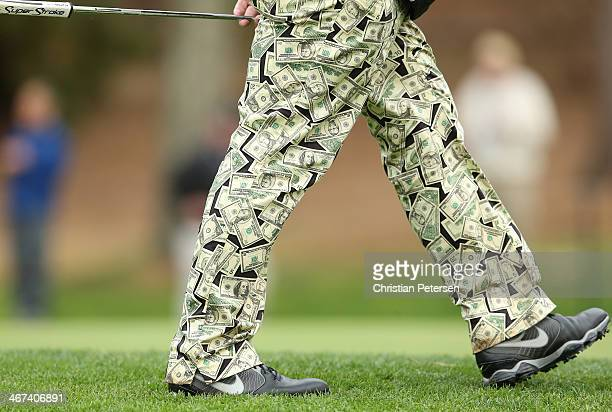 Detail of pants worn by John Daly as he walks on the 17th green during the first round of the ATT Pebble Beach National ProAm at Spyglass Hill Golf...