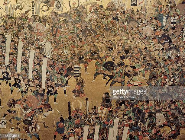 Detail of part of a folding screen which depicts the siege of Osaka Castle Japan Japanese