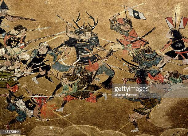 Detail of part of a folding screen which depicts the siege of Osaka Castle One of Ieyasu's captains Honda Tadatomo leads an attack on the Osaka...