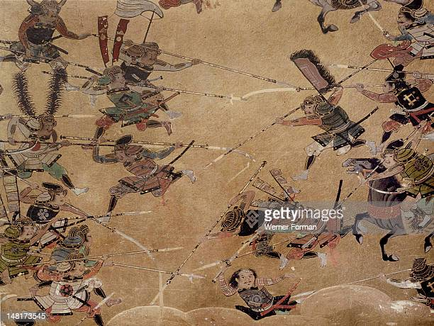 Detail of part of a folding screen which depicts the siege of Osaka Castle Japan Japanese 17th century