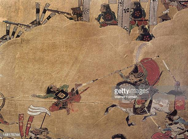Detail of part of a folding screen which depicts the siege of Osaka Castle Japan
