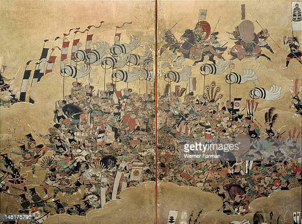 Detail of part of a folding screen which depicts the siege of Osaka Castle Japan 1568 1623
