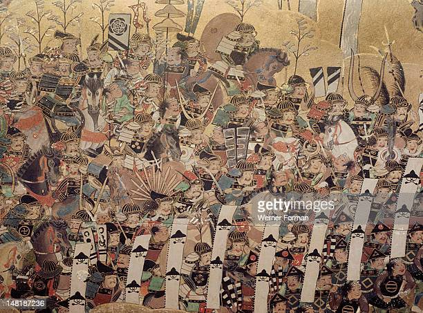 Detail of part of a folding screen which depicts the siege of Osaka Castle Japan Japanese 1568 1623