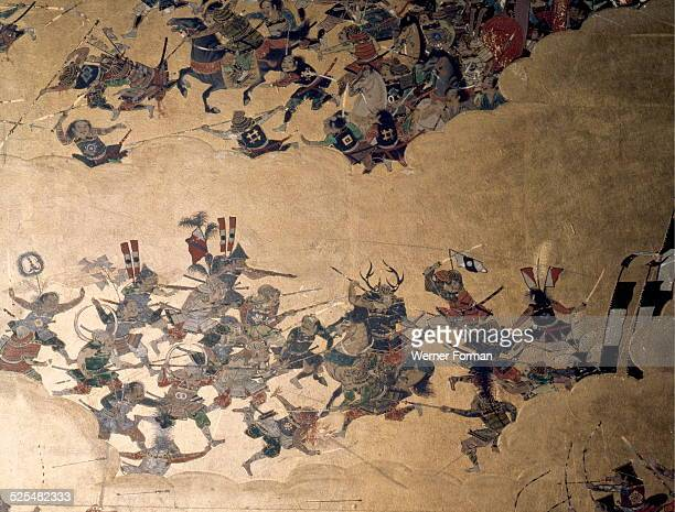 Detail of part of a folding screen which depicts the siege of Osaka Castle The horned helmet indicates the figure of Honda Tadatome one of Ieyasu's...