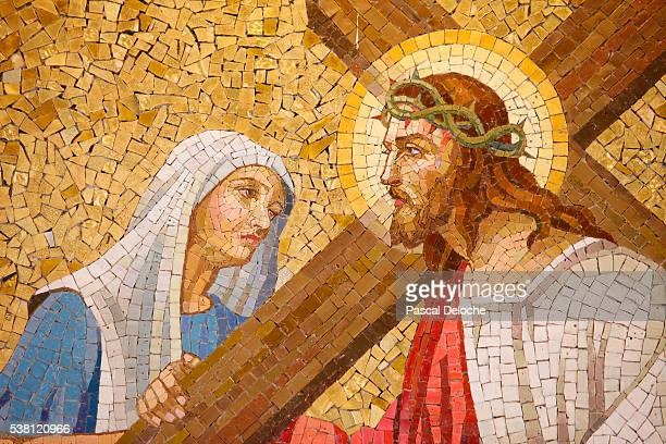detail of passion of jesus christ at sacred heart church - virgin mary stock pictures, royalty-free photos & images