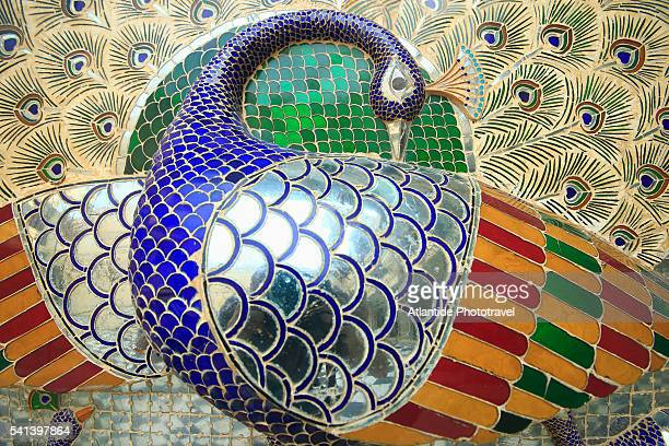 Detail of peacock mosaic at City Palace in Udaipur