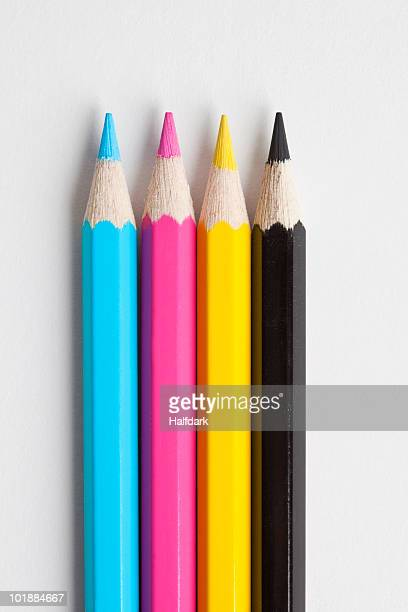 Detail of pencils in CMYK colors