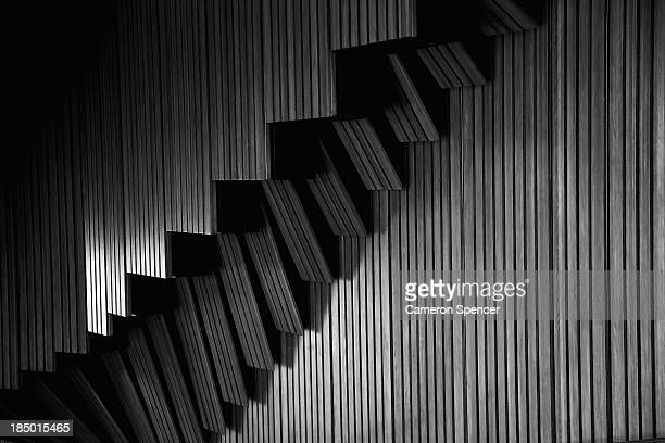 Detail of plain brush box timber used on the walls of the interior and exterior of the concert hall at the Sydney Opera House on September 20 2013 in...