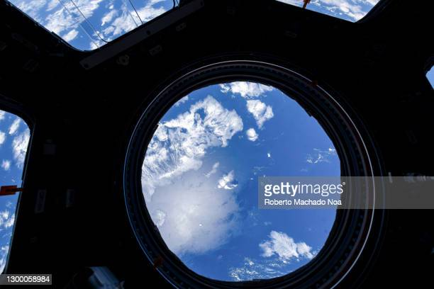 detail of planet earth seen from the iss, digital enhancement - space station stock pictures, royalty-free photos & images