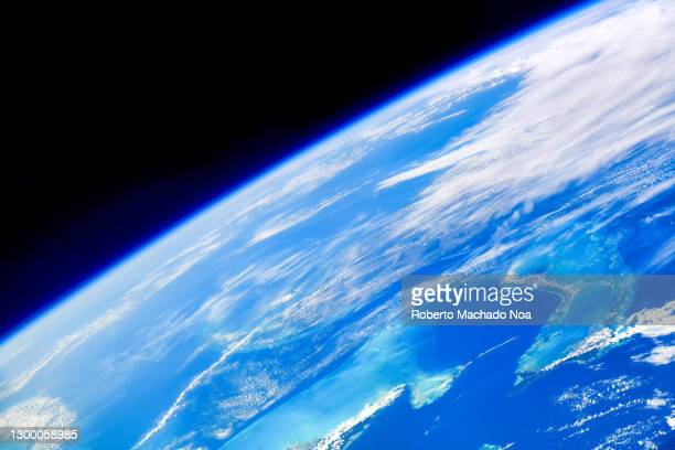 detail of planet earth seen from the iss, digital enhancement - planet earth stock pictures, royalty-free photos & images