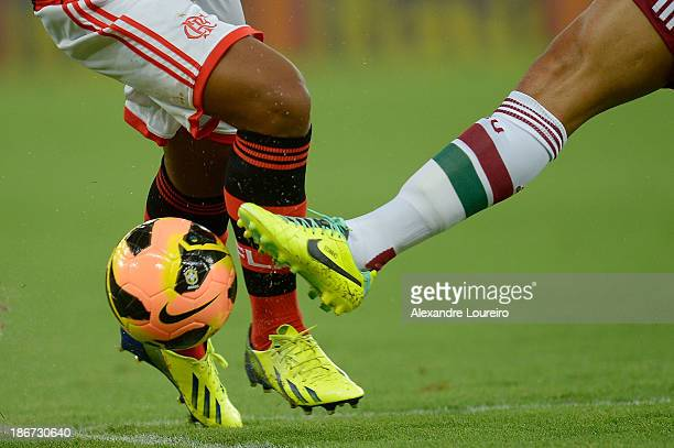 Detail of player boots during the match between Flamengo and Fluminense for the Brazilian Series A 2013 at Maracana on November 3 2013 in Rio de...