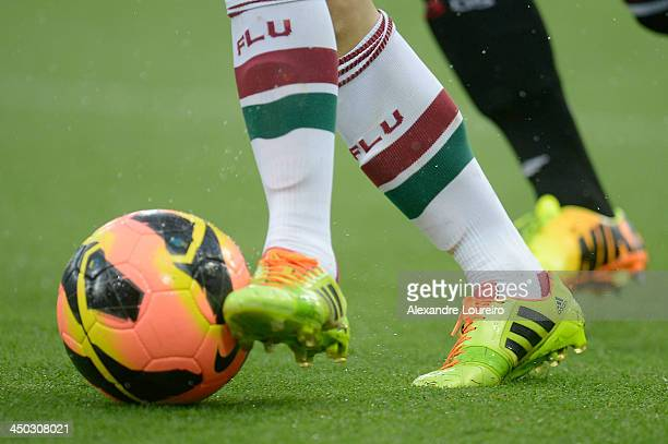 Detail of player boots during the match between Fluminense and Sao Paulo for the Brazilian Series A 2013 at Maracana on November 17 2013 in Rio de...