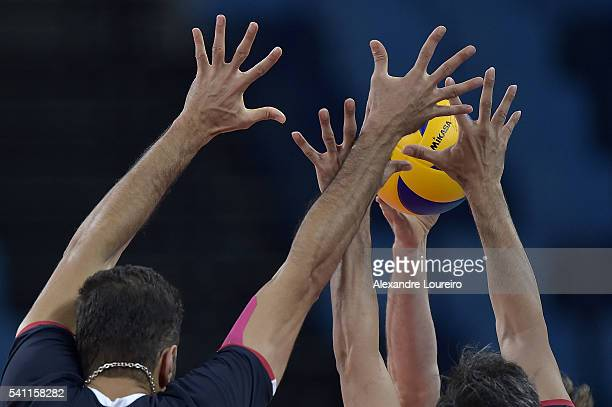 Detail of players hands attempting to block during the match between Iran and Argentina on the FIVB World League 2016 Day 3 at Carioca Arena 1 on...