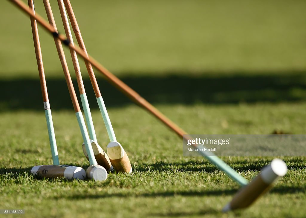 Detail of polo mallets during a match between La Dolfina and La Albertina as part of the HSBC 124°° Argentina Polo Open at Campo Argentino de Polo on November 11, 2017 in Buenos Aires, Argentina.
