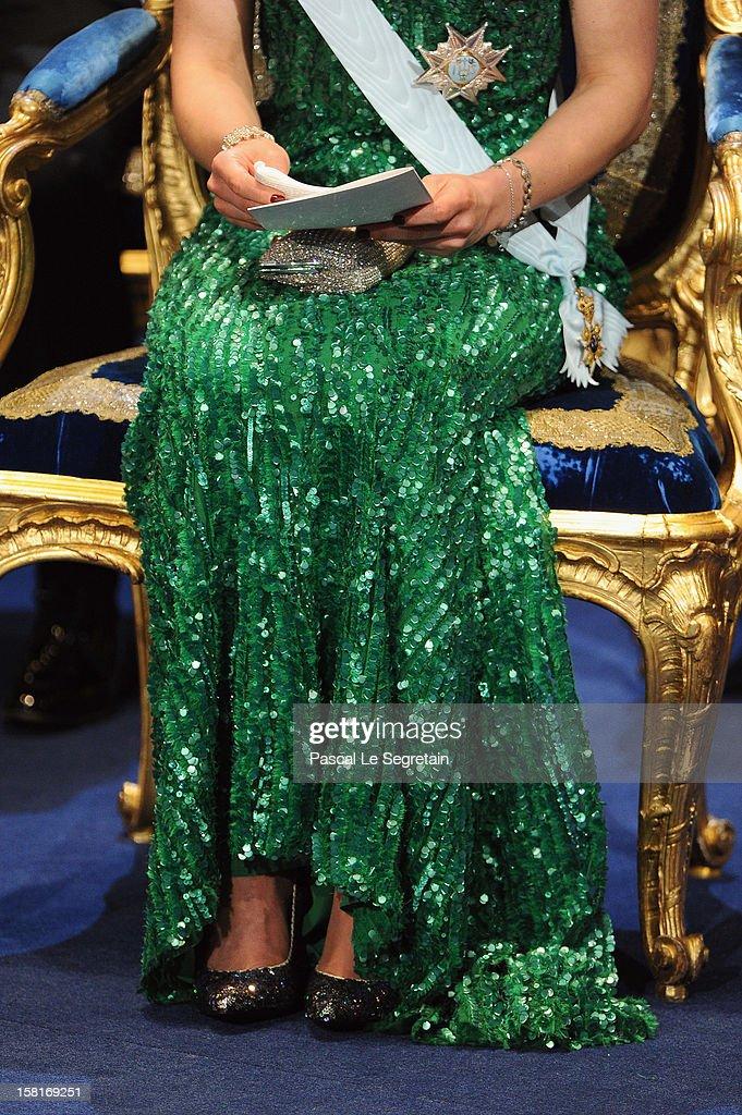 A detail of Princess Victoria of Sweden's dressand shoes as she attends the 2012 Nobel Prize Award Ceremony at Concert Hall on December 10, 2012 in Stockholm, Sweden.