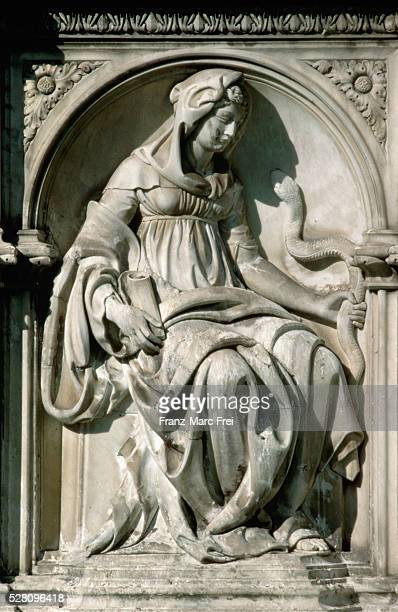 detail of prudence from the fonte gaia by jacopo della quercia - high renaissance stock pictures, royalty-free photos & images