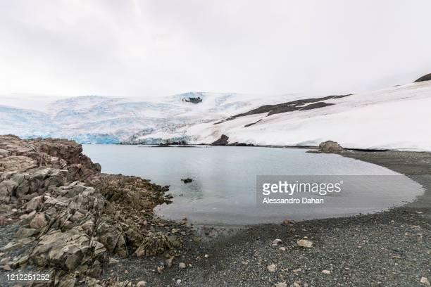 Detail of Punta Finger beach on the Dobrowolski Glacier, on January 04, 2020 in King George Island, Antarctica.