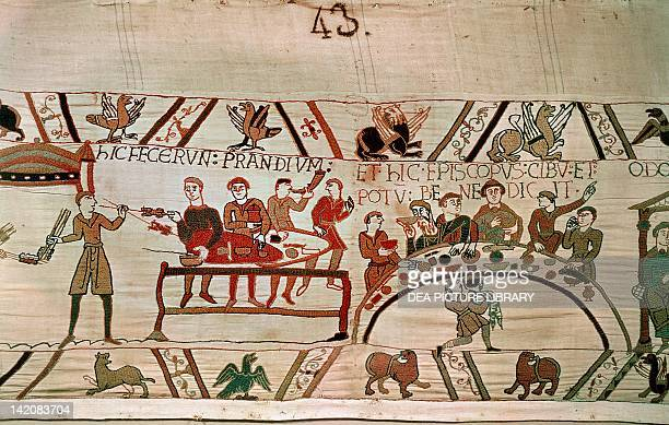 Detail of Queen Mathilda's Tapestry or Bayeux Tapestry featuring William the Conqueror's banquet France 11th century