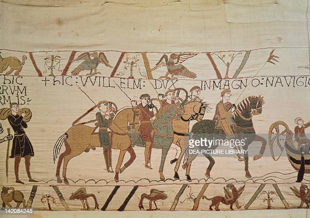 Detail of Queen Mathilda's Tapestry or Bayeux Tapestry featuring William the Conqueror on horseback France 11th century