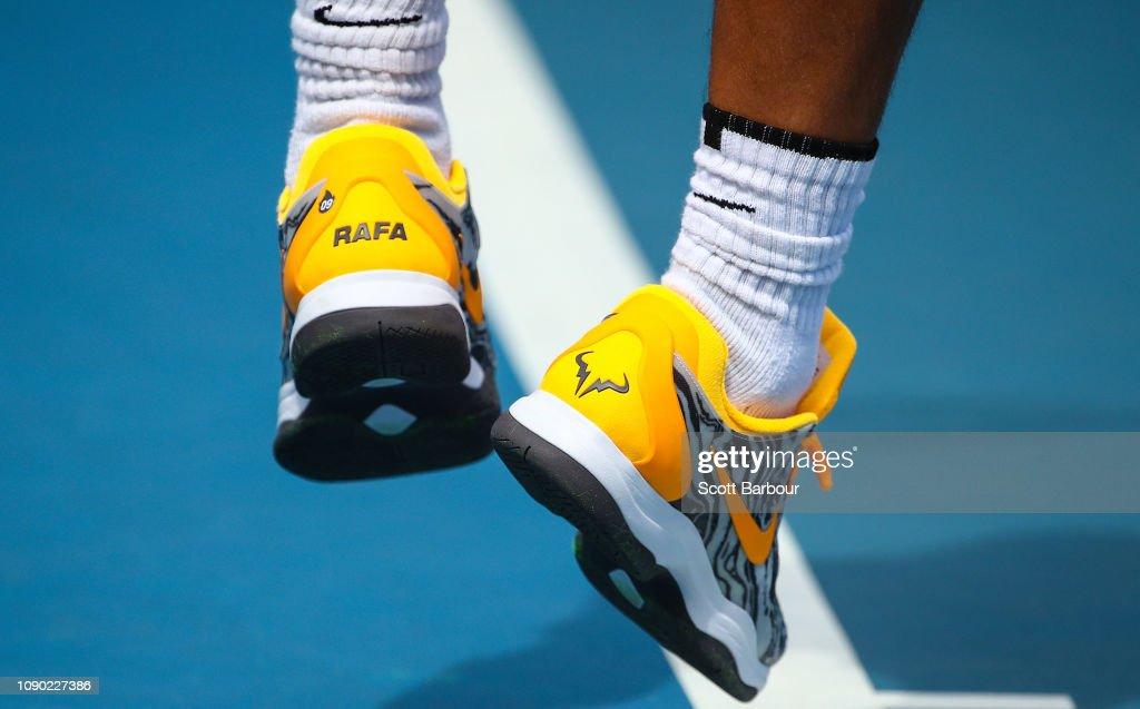 A Detail Of Rafael Nadal Of Spain Shoes As He Serves During A News Photo Getty Images