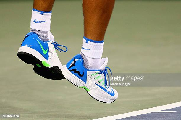 A detail of Rafael Nadal of Spain's shoes as he serves against Feliciano Lopez of Spain during Day 6 of the Western Southern Open at the Lindner...