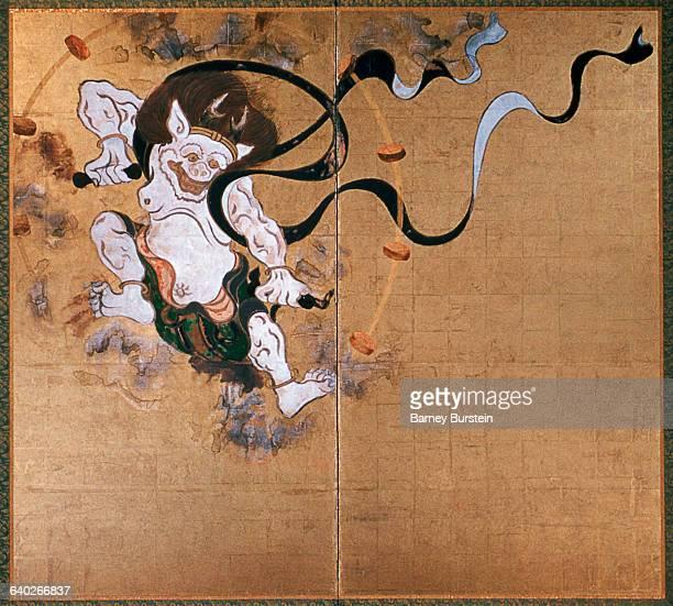 Detail of Raijin the God of Thunder from Fujin Raijin Byobu by Sotatsu