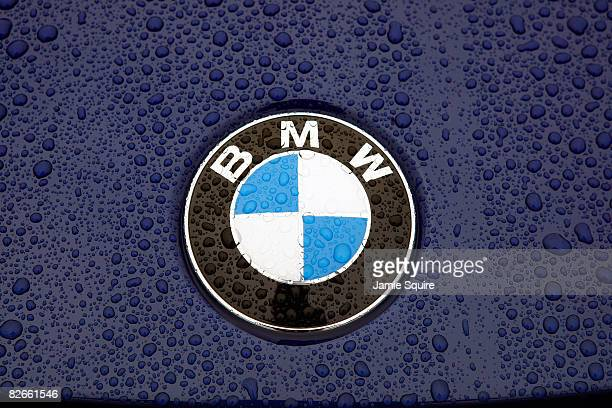 A detail of rain on a car logo as the first round of the BMW Championship is postponed on September 4 2008 at Bellerive Country Club in St Louis...