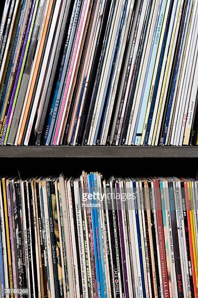Detail of records on shelves