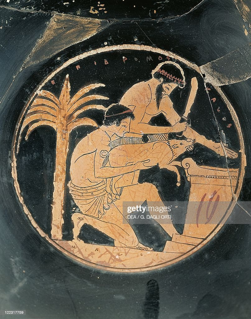 Detail of red-figure cup depicting the sacrifice of a pig painted by Epidromos painter : News Photo