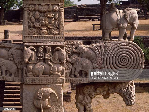 Detail of reliefs of the east gate of the Stupa I in Sanchi India Indian civilization 1st century BC
