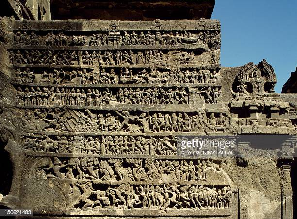 Detail of reliefs of the Kailasa Temple in Ellora India Indian civilization 8th century