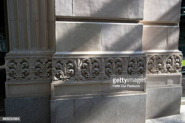 Detail of relif carving of a wall at Los Angeles city, California State, USA