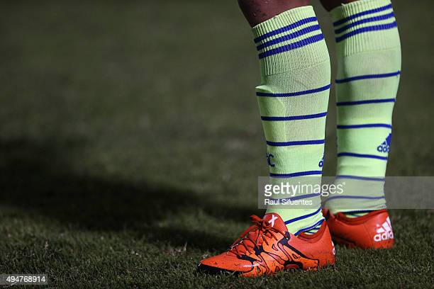 Detail of Renzo Sheput football boots during a match between San Martin and Sporting Cristal as part of Torneo Clausura 2015 at Miguel Grau del...
